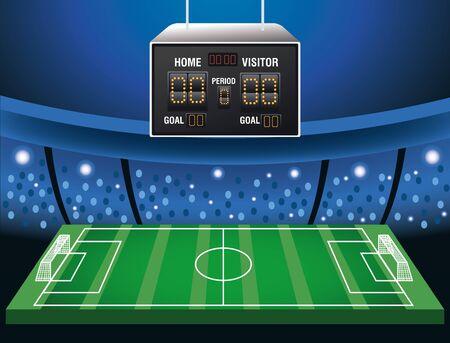 Illustration pour soccer cup tournament poster with scoreboard in stadium vector illustration design - image libre de droit