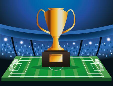 Illustration pour soccer cup tournament poster with trophy in camp vector illustration design - image libre de droit