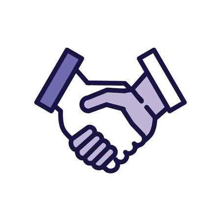 Illustration pour handshake greeting line style icon vector illustration design - image libre de droit