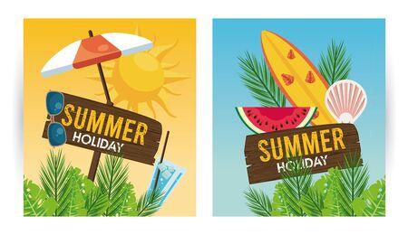 Illustration pour summer holiday label with set icons vector illustration design - image libre de droit