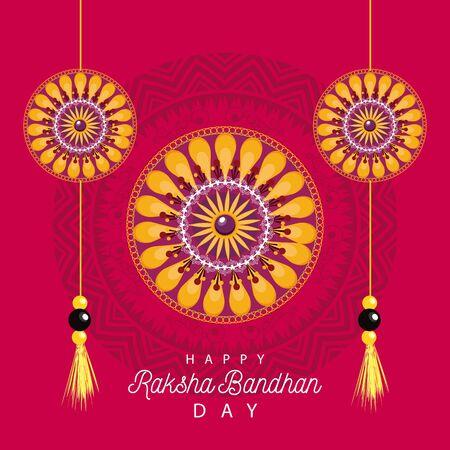 Illustration for India Raksha Bandhan flowers decoration frame vector illustration design - Royalty Free Image