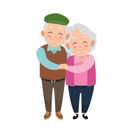 Illustration for cute happy grandparents couple avatars characters vector illustration design - Royalty Free Image