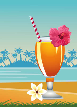 Illustration pour hello summer seasonal scene with tropical cocktail vector illustration design - image libre de droit