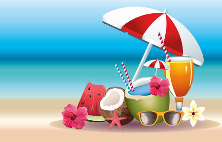Illustration pour hello summer season holiday with cocktails and fruits vector illustration design - image libre de droit