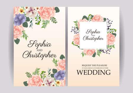 Photo pour wedding Invitation with squares floral frames vector illustration design - image libre de droit