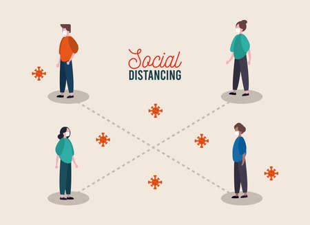 Illustration for group of people wearing medical mask practicing social distance vector illustration design - Royalty Free Image