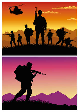 Illustration pour military soldiers with guns and helicopters silhouettes vector illustration design - image libre de droit