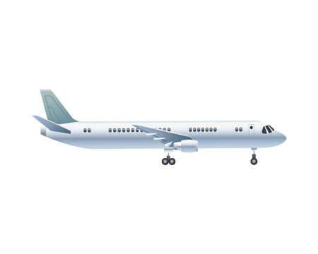Illustration for white airplane transport isolated icon vector illustration design - Royalty Free Image