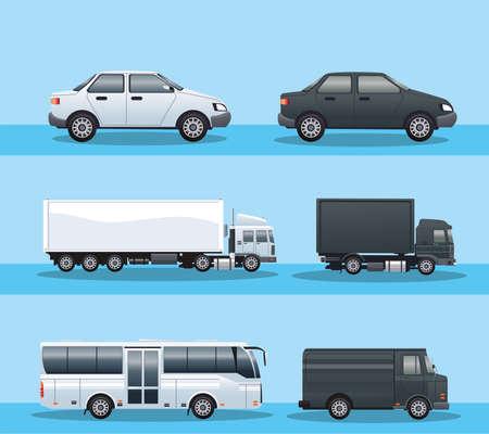 Illustration for bundle of vehicles transport icons vector illustration design - Royalty Free Image