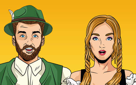 Ilustración de oktoberfest celebration card with german couple vector illustration design - Imagen libre de derechos