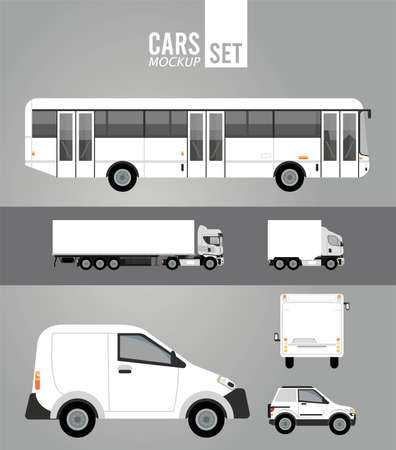 Illustration for white color mockup group cars vehicles icons vector illustration design - Royalty Free Image