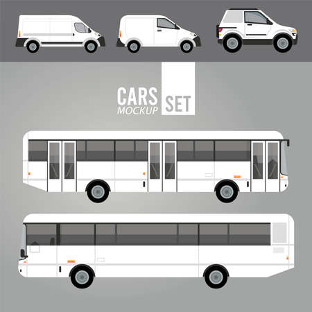 Illustration for white buses and mini vans mockup cars vehicles icons vector illustration design - Royalty Free Image