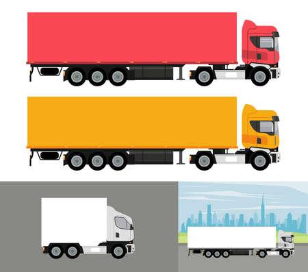 Illustration pour white and colors trucks mockup cars vehicles icons vector illustration design - image libre de droit