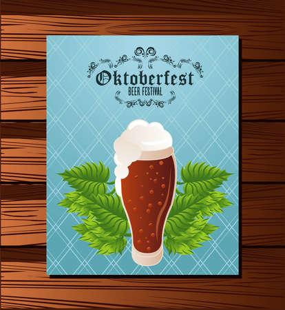 Illustration pour oktoberfest celebration festival poster with beer glass in wooden background vector illustration design - image libre de droit