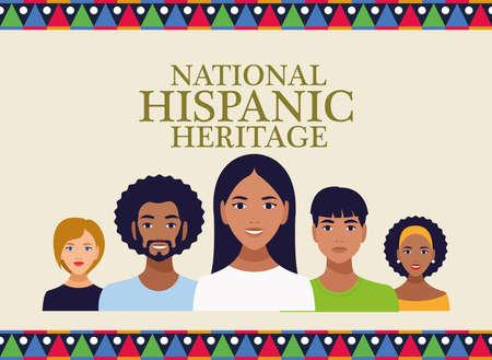 Illustration pour national hispanic heritage celebration with people and lettering vector illustration design - image libre de droit