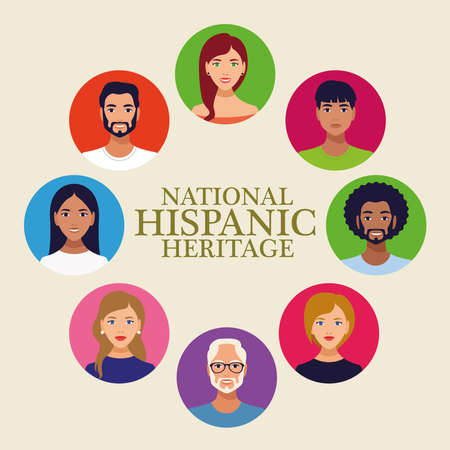 Illustration pour national hispanic heritage celebration lettering with people in circular frame vector illustration design - image libre de droit