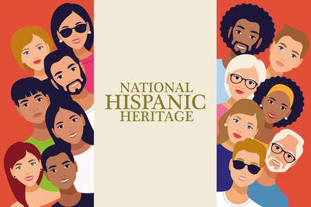Illustration pour national hispanic heritage celebration lettering with people vector illustration design - image libre de droit