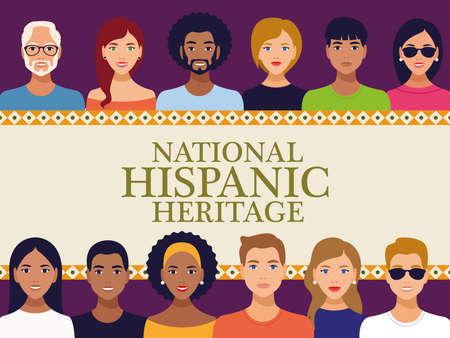 Illustration pour national hispanic heritage celebration lettering with team people in square frame vector illustration design - image libre de droit