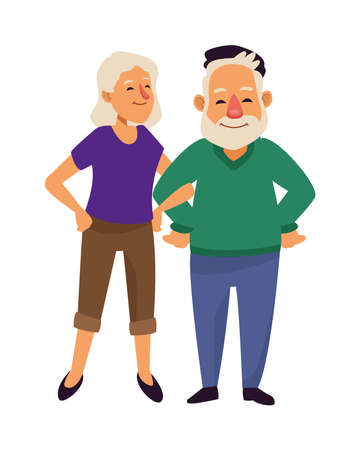 Illustration for old couple persons avatars characters vector illustration design - Royalty Free Image