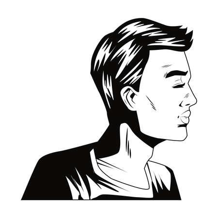 Illustration pour angry man profile pop art style character vector illustration design - image libre de droit