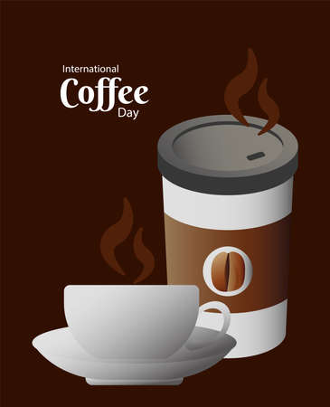 Illustration pour international coffee day poster with cup and plastic container vector illustration design - image libre de droit