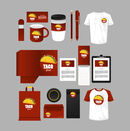 Illustration pour bundle of mexican food mockup elements branding vector illustration design - image libre de droit