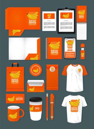 Illustration for bundle of bananas fruits mockup elements branding vector illustration design - Royalty Free Image