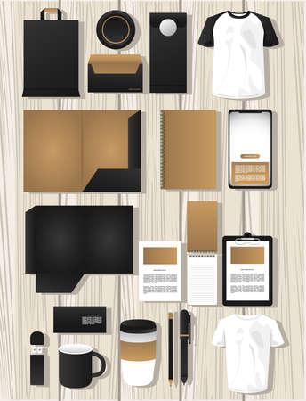 Illustration pour bundle of mockup elements branding vector illustration design - image libre de droit