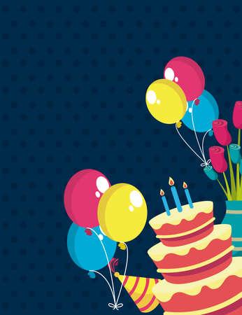 Illustration pour happy birthday party set icons - image libre de droit
