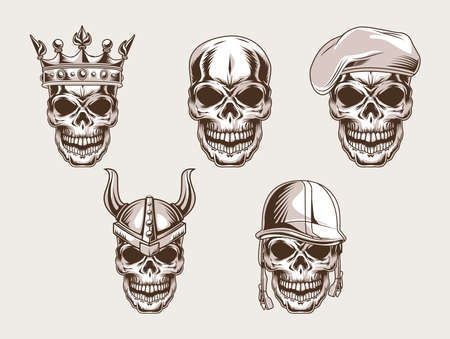 Illustration pour skulls heads set style icon - image libre de droit