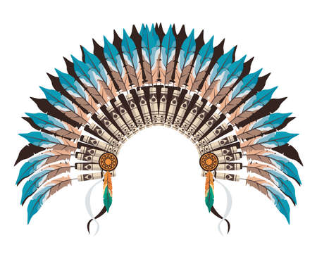 Illustration for blue war bonnet of feathers - Royalty Free Image