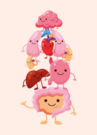 Illustration pour comic pile organs humans icons - image libre de droit