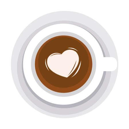 Illustration pour love coffee cup with heart - image libre de droit