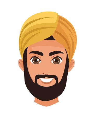 Illustration for muslim head man golden - Royalty Free Image