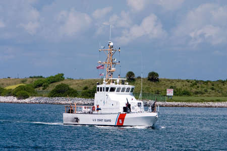 US Coast Guard boat on security patrol in sea port