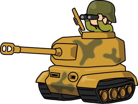 Ilustración de Cartoon army with tiger tank, vector illustration on white background. - Imagen libre de derechos