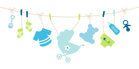 Illustration for Hanging Baby Icons, Boy Bow Blue And Green - Royalty Free Image