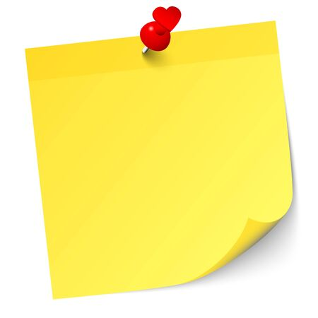 Illustration pour Single Yellow Sticky Note With Red Heart Pin And Shadow - image libre de droit