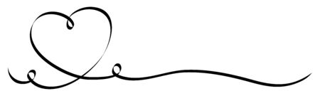 Illustration pour Single Calligraphy Black Heart With Two Squiggles Ribbon - image libre de droit