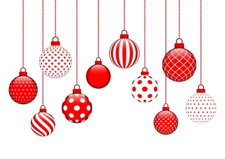 Illustration for Card Ten Hanging Christmas Balls Pattern Red And White - Royalty Free Image