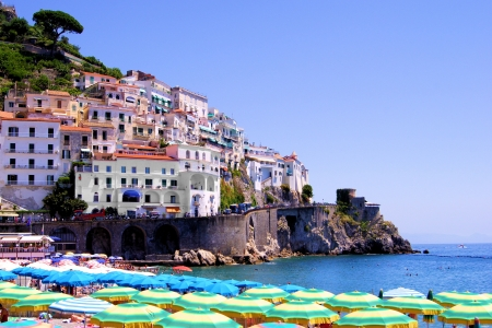 Colorful view over the beach at Amalfi Italy