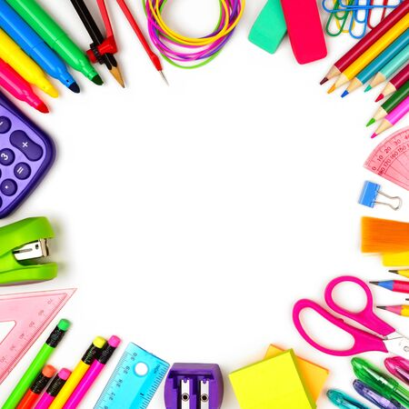 Photo pour School supplies square frame, top view isolated on a white background with copy space, back to school concept - image libre de droit