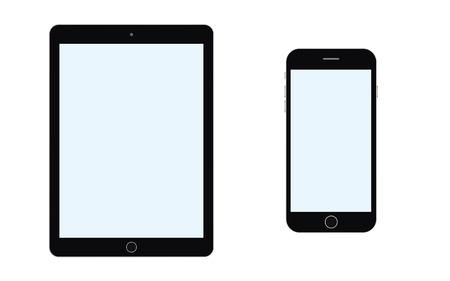 Illustration pour BlackTablet and smartphone with blue screenvector eps10. - image libre de droit