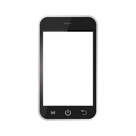 Illustration pour Black Realistic mobile phone with blank screen isolated on white background. Black Smartphone with white screen vector - image libre de droit