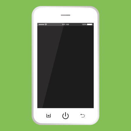 Illustration pour White mobile phone with black screen. Smartphone with buttons, time, battery vector . realistic Smartphone. - image libre de droit