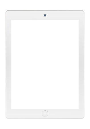 Illustration pour Grey tablet with empty white screen and camera icon vector . Grey Tablet  vector flat style. - image libre de droit