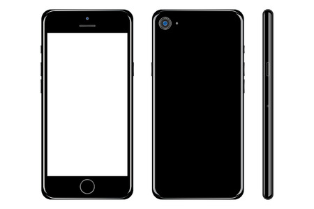 Illustration pour Black smartphone with white screen back and front side set with white screen on white background. Smartphone black edition with camera vector - image libre de droit