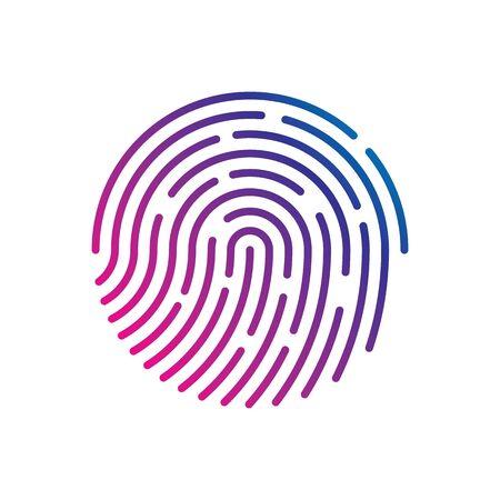 Illustration pour Human fingerprint with gradient for security check at the entrance.  Human colored fingerprint for security verification during identification or authorization vector eps10 - image libre de droit