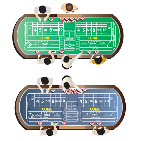 Casino furniture , craps table top view set 9 for interior, vector illustration