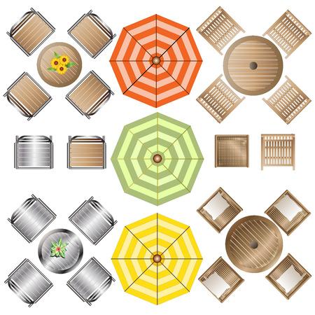Outdoor Furniture top view set 1 for Landscape Design , vector illustration